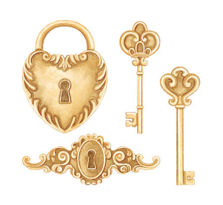 Vintage set with bronze golden keyhole, padlock and keys isolated on white background. Watercolor hand drawn illustration sketch Archivio Fotografico