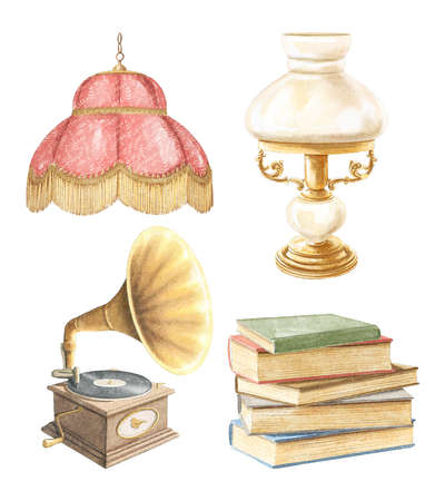 Watercolor set with vintage old stacks of books, gramophone, lampshade and lamp isolated on white background. Watercolor hand drawn illustration sketch