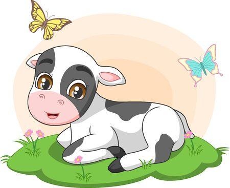 Vector illustration of Cute little cow sitting in the grass