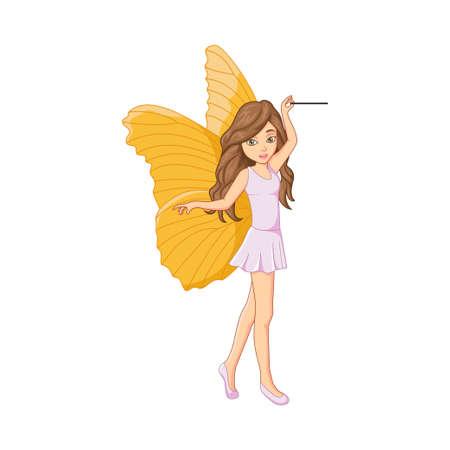 Cartoon little fairy with magic stick Ilustración de vector