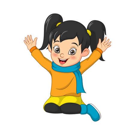 Cartoon happy little girl in warm sweater