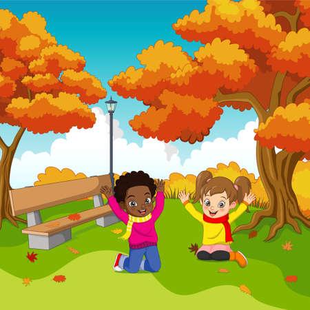 Cartoon Happy kids in autumn park