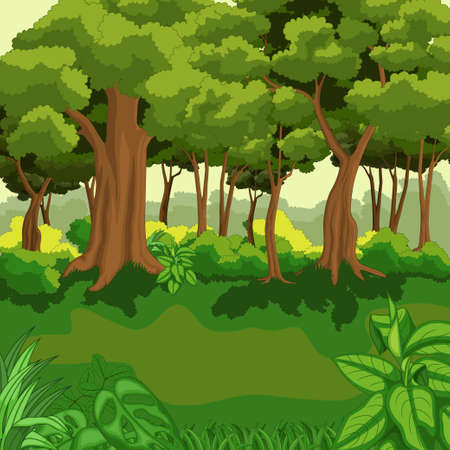 Beautiful green jungle with plants Vettoriali