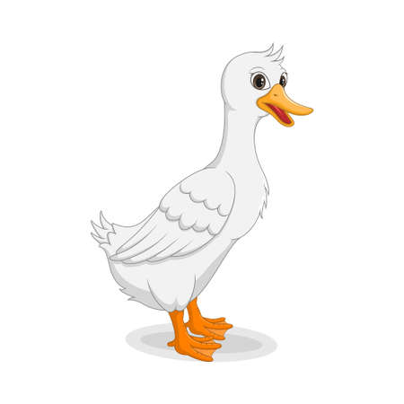 Cartoon funny goose isolated on white background Иллюстрация