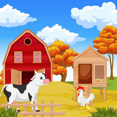 Cute happy animal with farm background