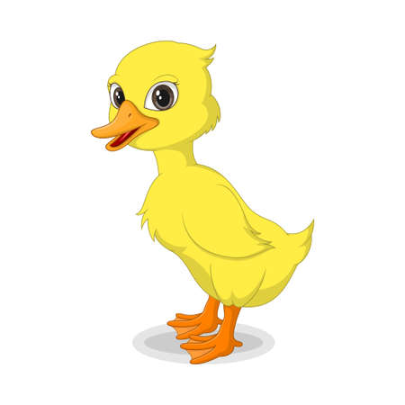 Cute baby duckling isolated on white background Иллюстрация