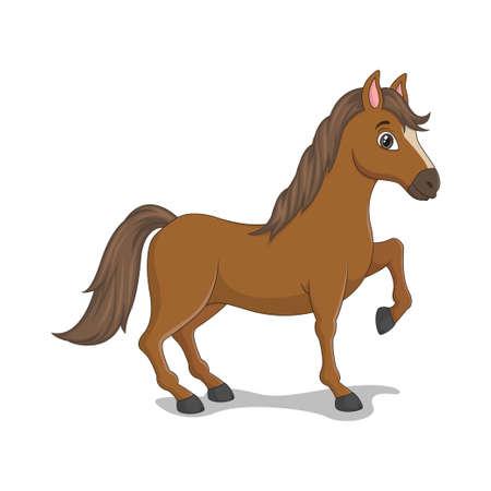 Cartoon funny horse isolated on white background