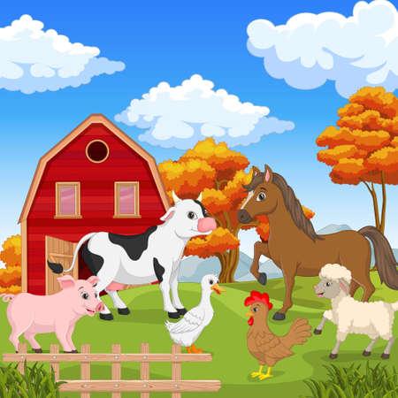 Farm animals in the farming background