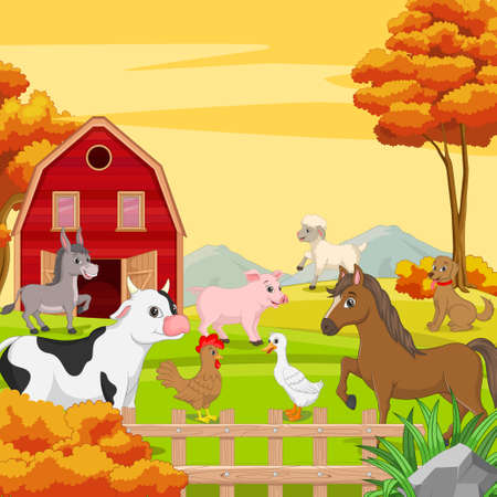 Farm animals on a farm landscape background.