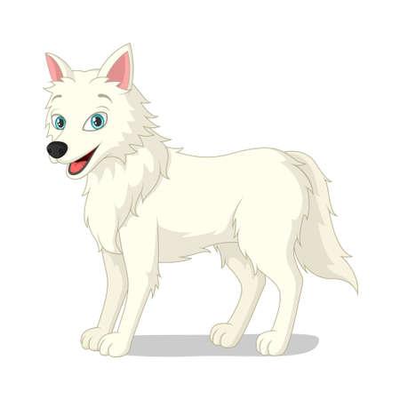 Cartoon arctic wolf on white background Illusztráció