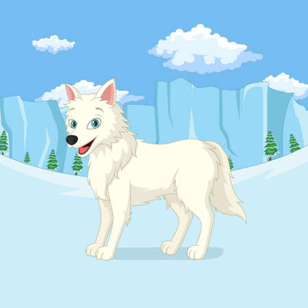 Cartoon arctic wolf stands in the winter forest