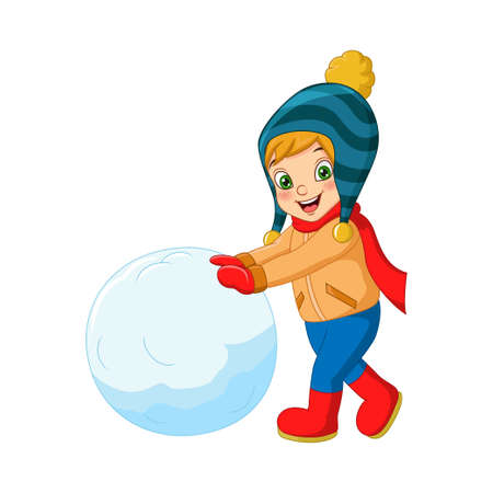 Cute little boy in winter clothes playing snowball