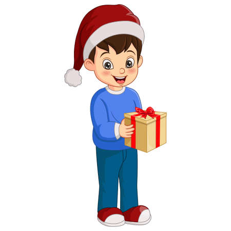 Cute little boy holding Christmas gift