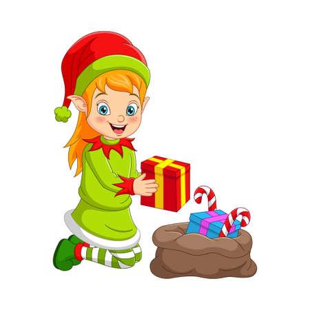 Cartoon Christmas elf with bag of gifts