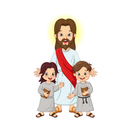 Jesus Christ with kids and holy bible book