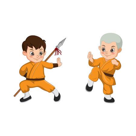 Cartoon kid Shaolin monk fighting
