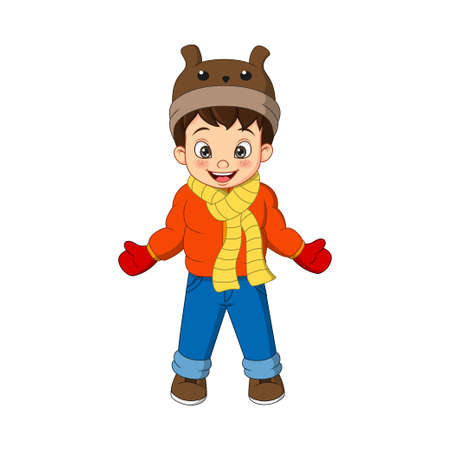 Cute little boy in winter clothes 向量圖像