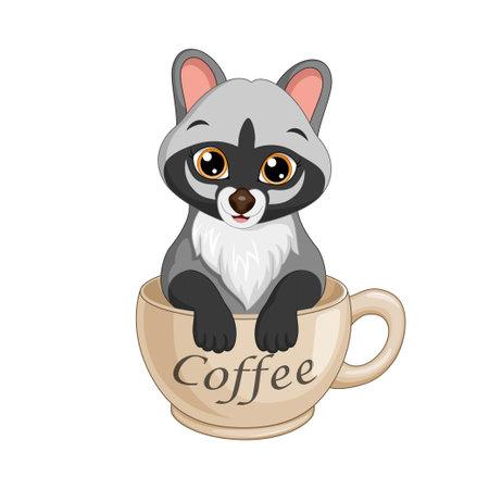 Cartoon cute civet in a coffee cup