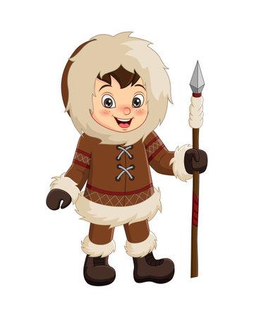Cartoon eskimo boy holding a spear