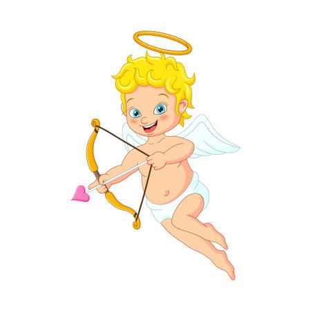Cartoon cute little cupid with bow and arrow Vettoriali