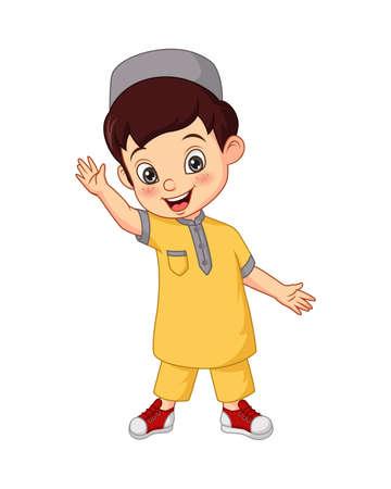 Happy Muslim boy cartoon on white background Vektoros illusztráció