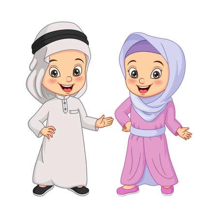 Cartoon happy Muslim Arabian kids