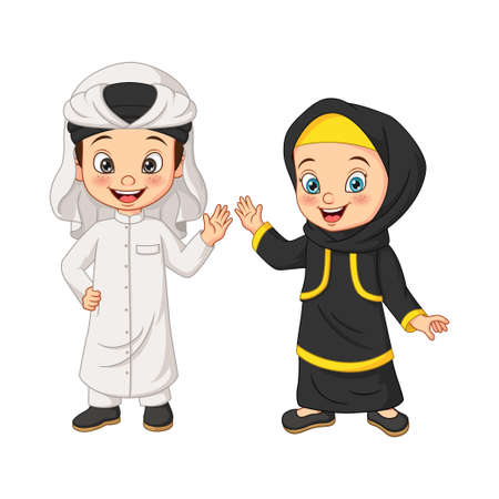 Cartoon happy Muslim Arabian kids Vektorové ilustrace