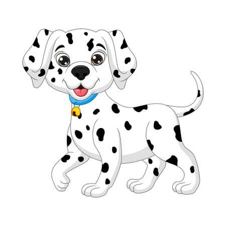 Cute baby dalmatian cartoon on white background