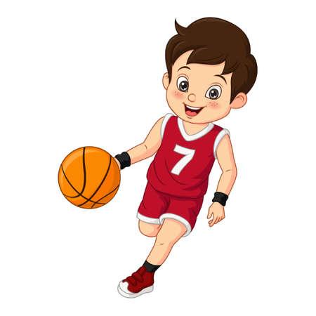Cartoon cute little boy playing basketball Vettoriali