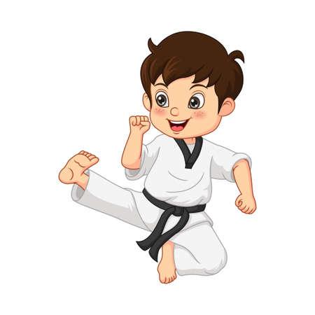 Cartoon little boy practicing karate Vektorové ilustrace
