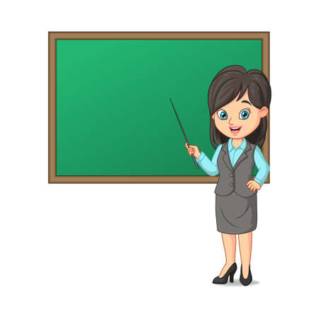 Young female teacher with blackboard and pointing stick