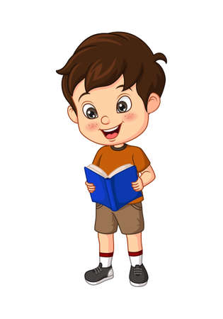 Cartoon boy student stands and reading a book Vector Illustration