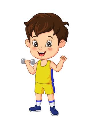 Cartoon little boy exercising with dumbbells