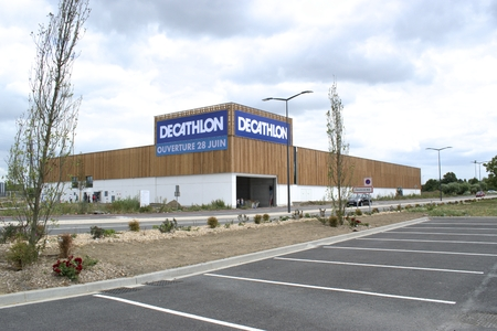 Tourcoing, FRANCE-June 16,2017: Finishing work on the construction of a new Decathlon shop in the roncq mall.Decathlon is one of the worlds largest sporting goods retailers. Editorial