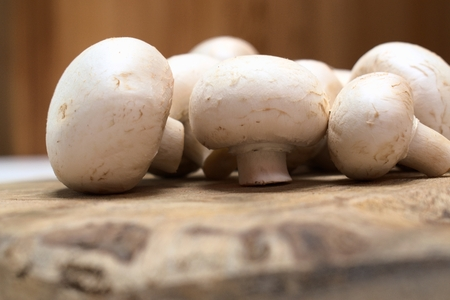 Fresh mushrooms on a wooden background. Imagens