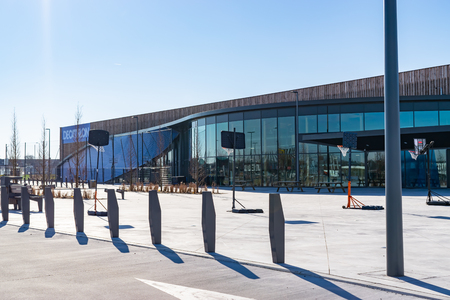 Neuville-en-Ferrain Roncq, FRANCE-February25,2018: Newly built decathlon store in the Roncq shopping center. Editorial