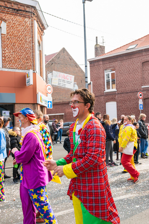 Wattrelos, FRANCE-April 07,2019: Carnival, festival and people in Wattrelos in the north of France.