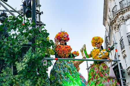 Lille, FRANCE-May 04,2019: People in carnival costumes on the Eldorado lille 3000 parade.