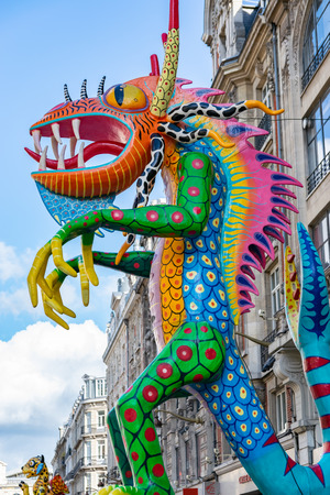 Lille, FRANCE-May 04,2019: Colorful figures on the streets of Lille.Parade opens the fifth season of Lille 3000.