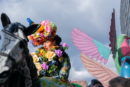 Lille, FRANCE-May 04,2019: Women in carnival costumes, the mexican tradition on the Eldorado lille 3000 parade. Editorial
