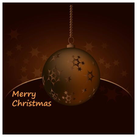 Christmas vector illustration, dark brown background with Christmas ball, stars and copy space. Illustration