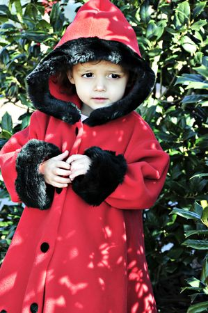 Little girl dressed in a red hooded coat.