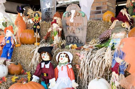 A display of fall, halloween and Thanksgiving decorations. Stock Photo