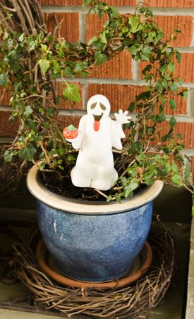 stake: Ghost plant stake in a plant for Halloween decoration.
