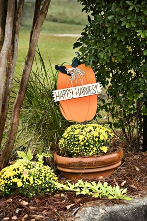 A fall display with a Happy Harvest banner pumpkin and fall mums. photo