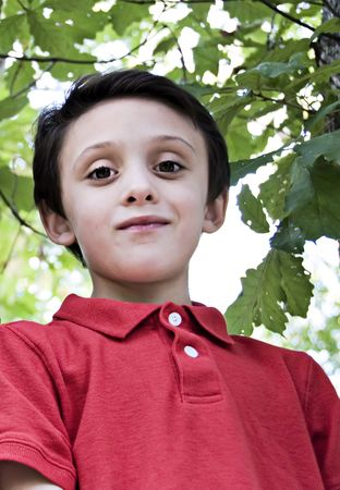 Young boy portrait with a woods background
