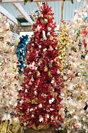 red white blue and gold christmas trees stock photo 3832659 - Red White And Blue Christmas Tree