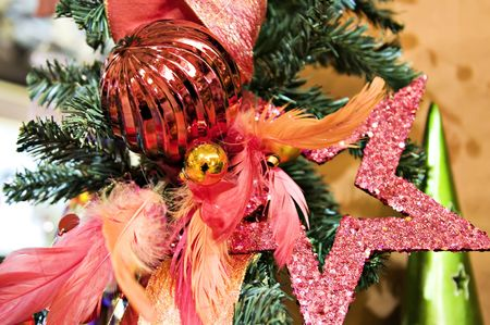 display: A stars and feathers christmas display Stock Photo