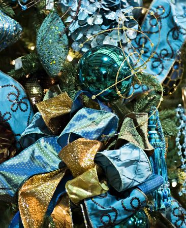 Christmas decoration with a bow of blue glitz