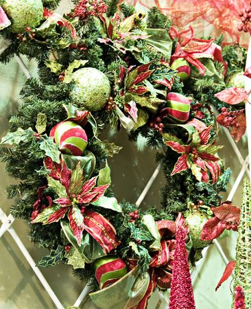 A brightly colored christmas door wreath photo